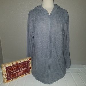 Romans gray waffle knit full zip sweater hoodie 12